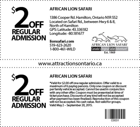 African Lion Safari Coupon, Attraction Ontario Coupon, Day Trips Ontario,
