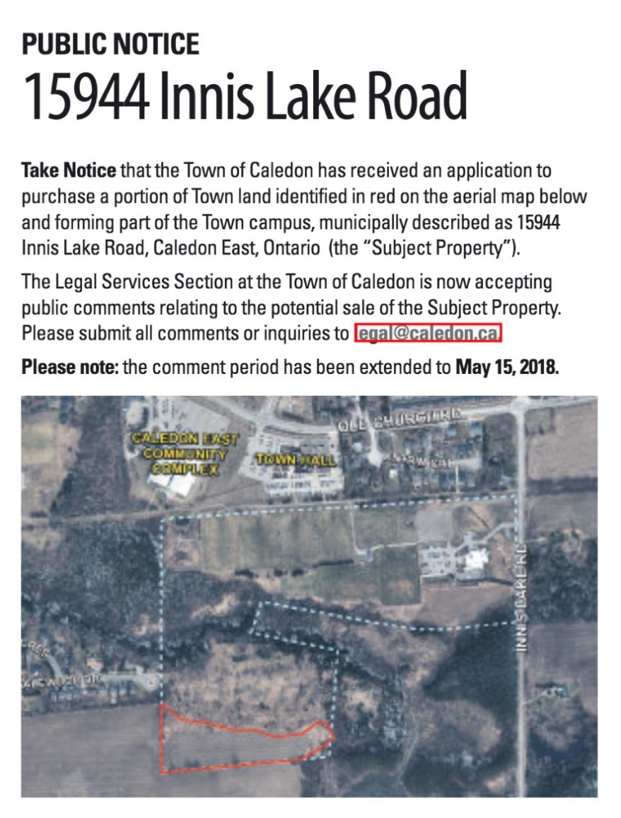 Town Of Caledon Public Notice